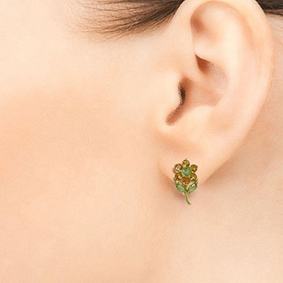 Citrine and Peridot Flower Petal Stud Earrings 2.12ctw in 9ct Gold