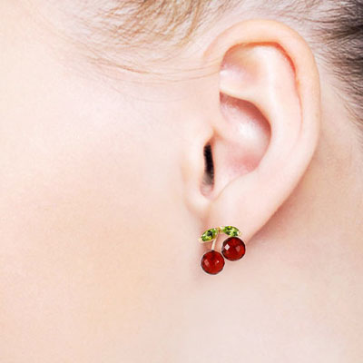 Garnet and Peridot Cherry Drop Stud Earrings 2.9ctw in 9ct Gold