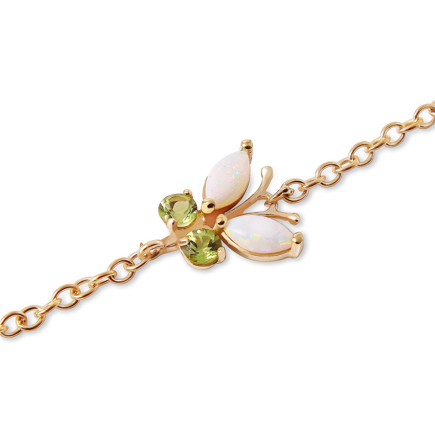 Opal and Peridot Adjustable Butterfly Bracelet 0.6ctw in 9ct Gold