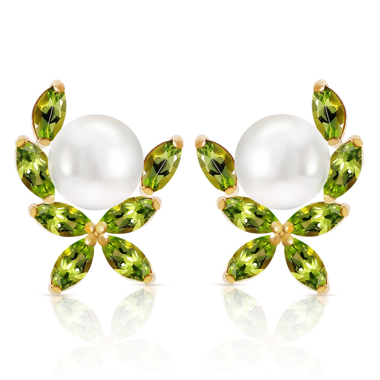 Pearl and Peridot Ivy Stud Earrings 3.25ctw in 9ct Gold