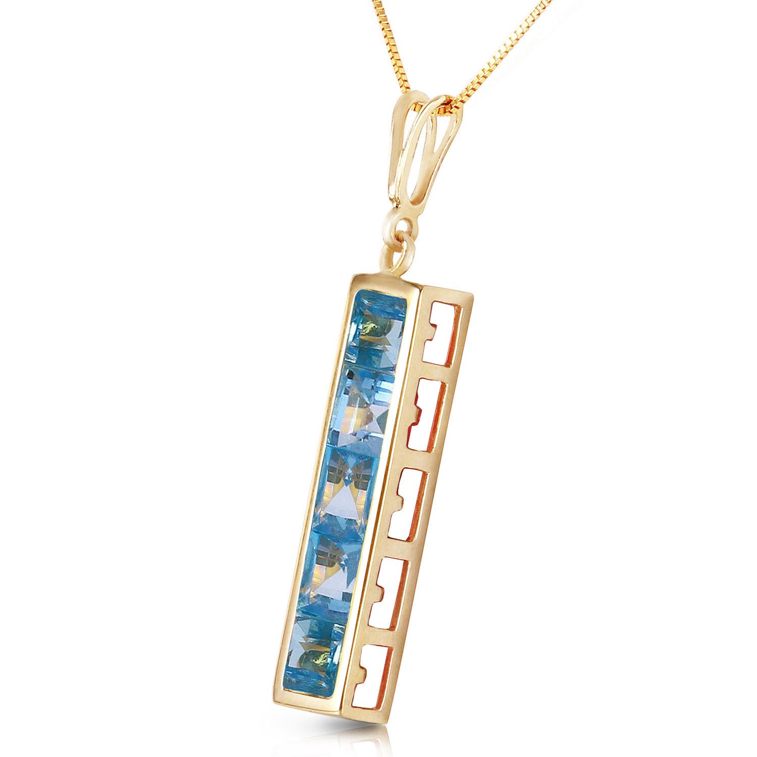 Blue Topaz Channel Set Pendant Necklace 2.25ctw in 9ct Gold