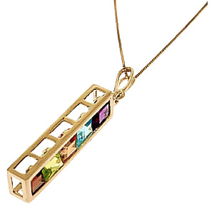 Gemstone Channel Set Pendant Necklace 2.25ctw in 9ct Gold