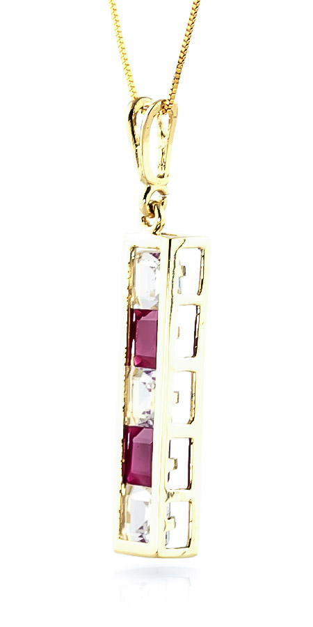 Ruby and White Topaz Channel Set Pendant Necklace 2.35ctw in 9ct Gold