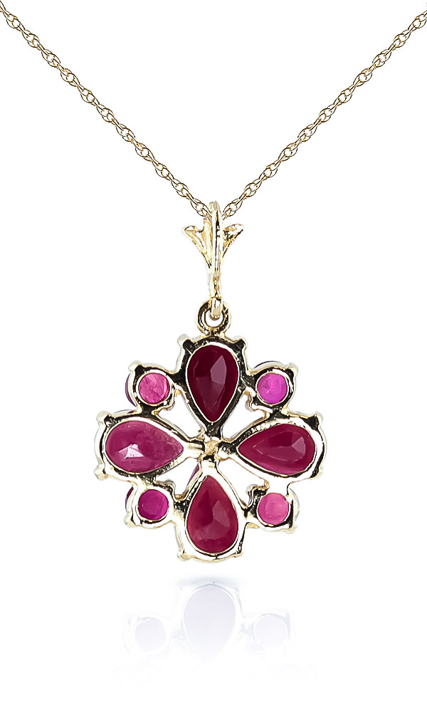 Ruby Sunflower Pendant Necklace 2.23ctw in 9ct Gold