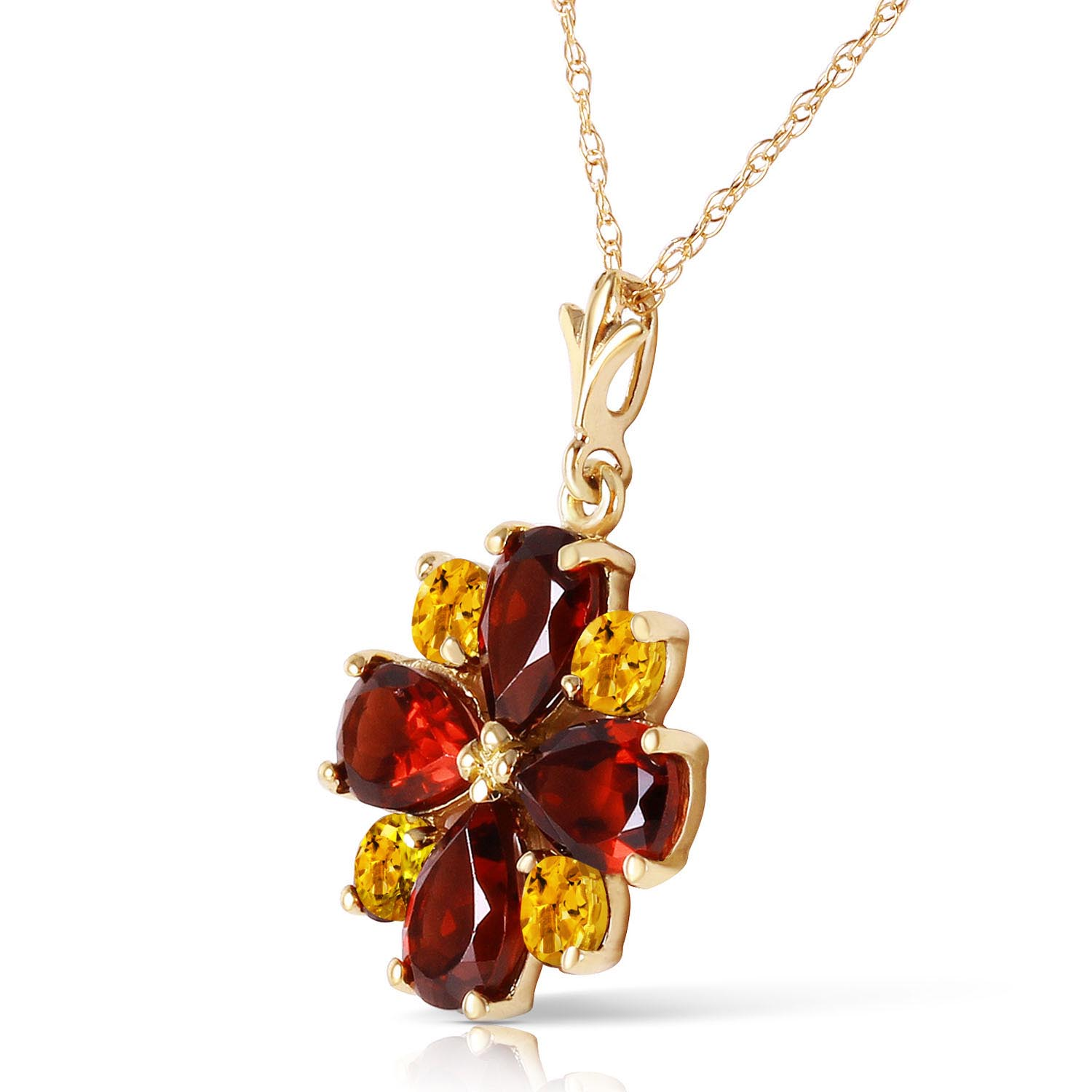 Garnet and Citrine Sunflower Pendant Necklace 2.43ctw in 9ct Gold