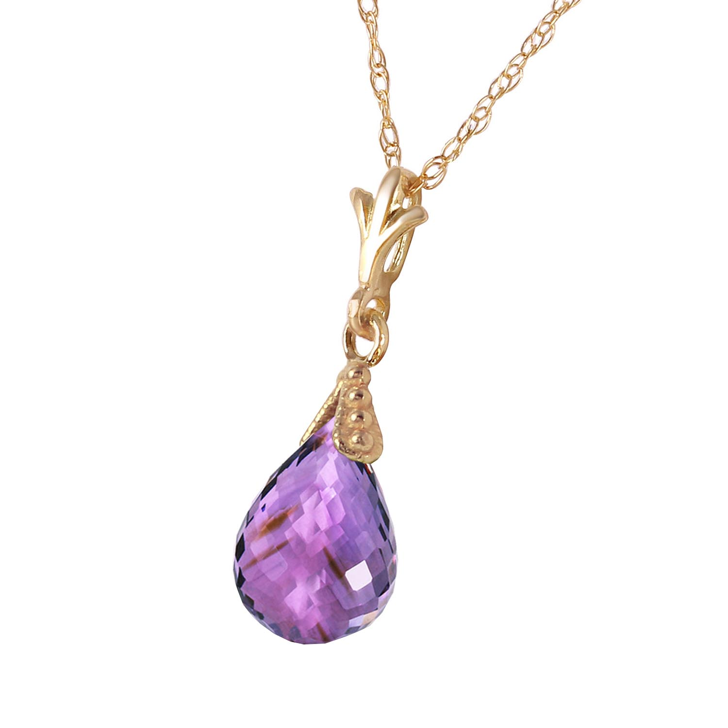 Amethyst Droplet Briolette Pendant Necklace 2.5ct in 9ct Gold