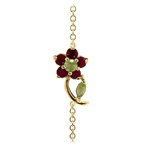 Peridot and Ruby Adjustable Flower Petal Bracelet 0.87ctw in 9ct Gold