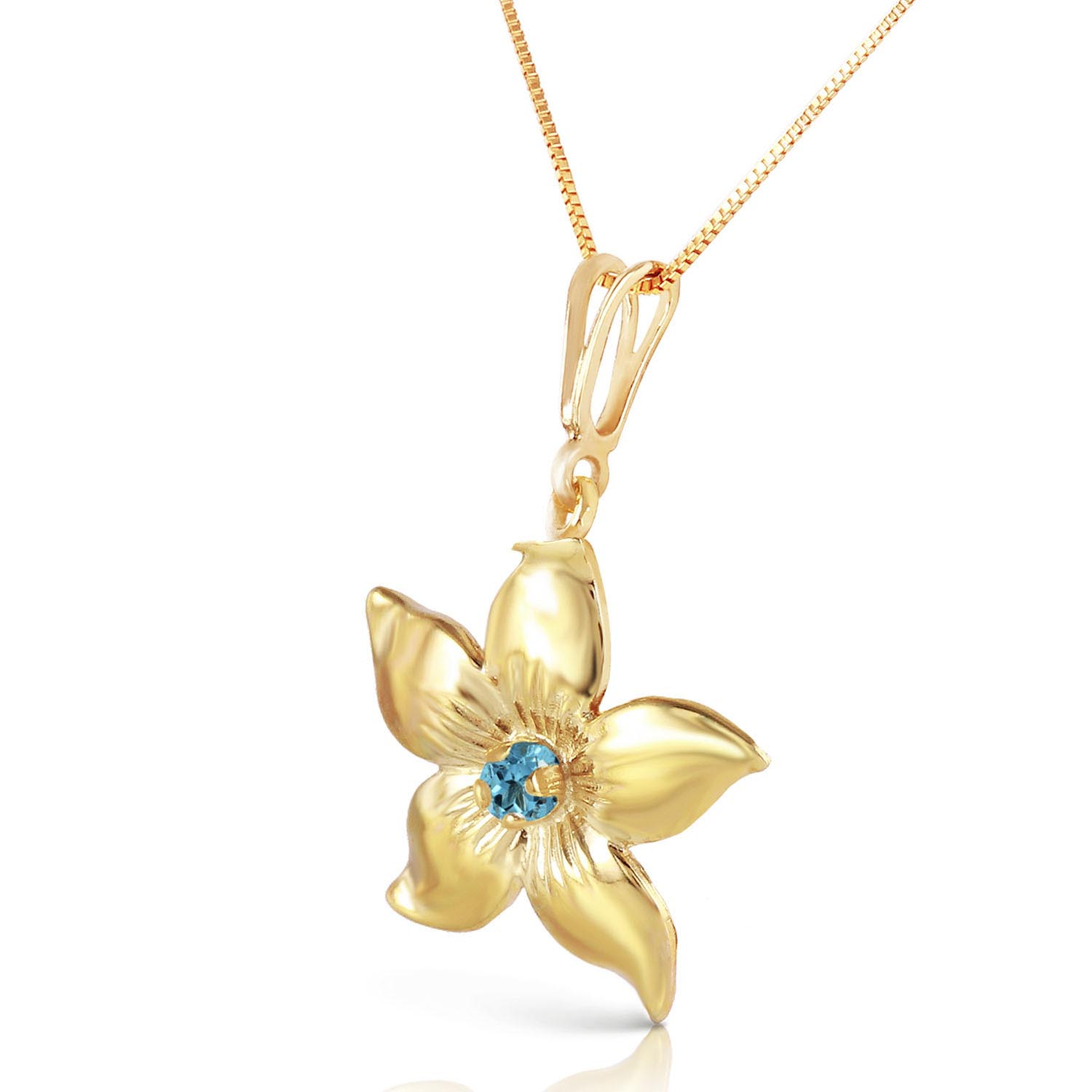 Blue Topaz Flower Star Pendant Necklace 0.1ct in 9ct Gold