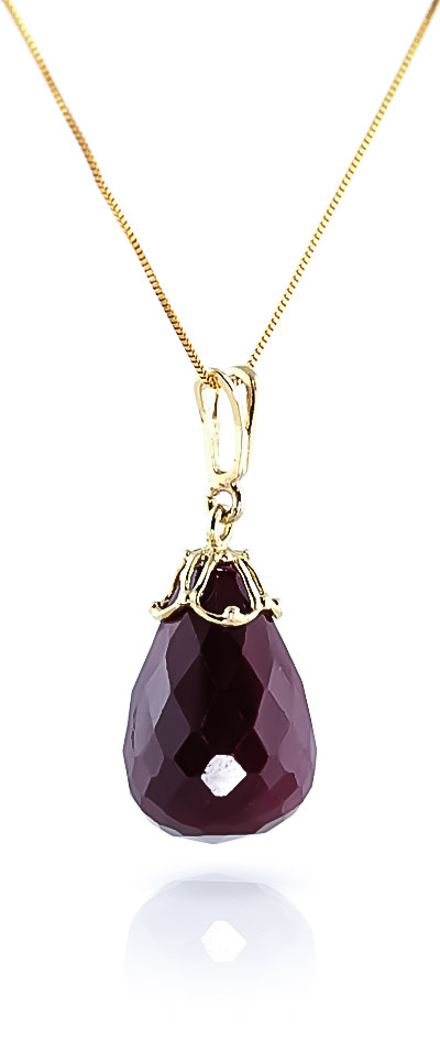 Ruby Tiara Briolette Pendant Necklace 14.8ct in 9ct Gold