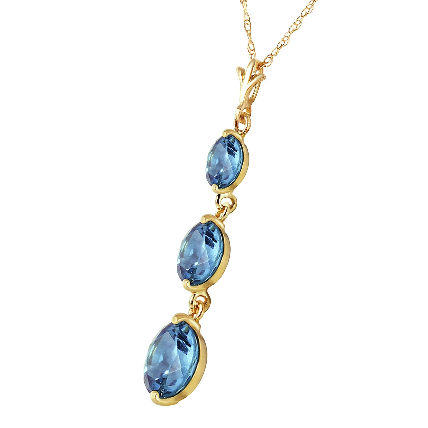 Blue Topaz Trinity Pendant Necklace 3.6ctw in 9ct Gold