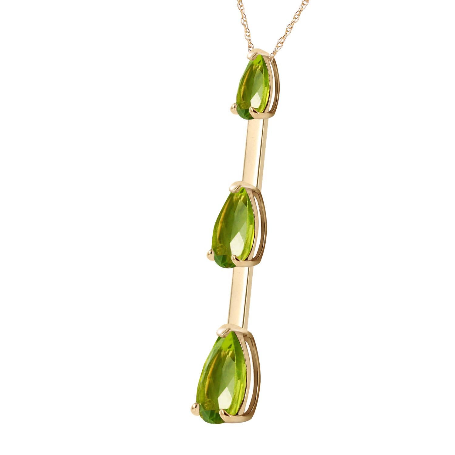 Peridot Trinity Pendant Necklace 1.71ctw in 9ct Gold