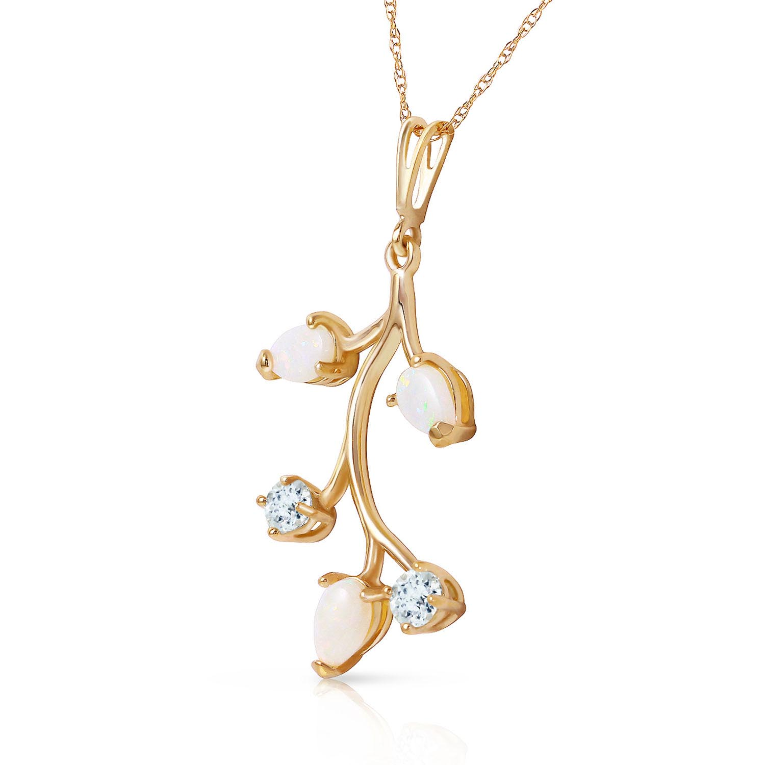 Opal and Aquamarine Vine Pendant Necklace 0.6ctw in 9ct Gold