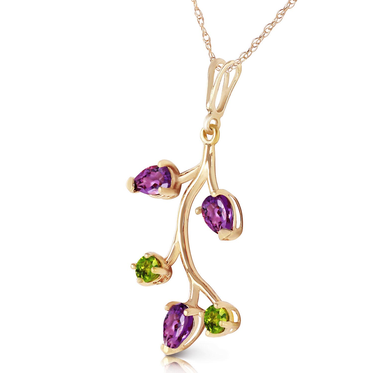 Amethyst and Peridot Vine Pendant Necklace 0.95ctw in 9ct Gold