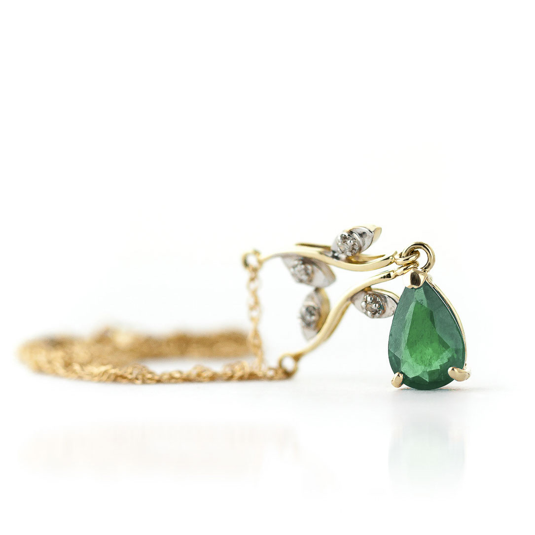 Emerald and Diamond Vine Branch Pendant Necklace 1.0ct in 9ct Gold