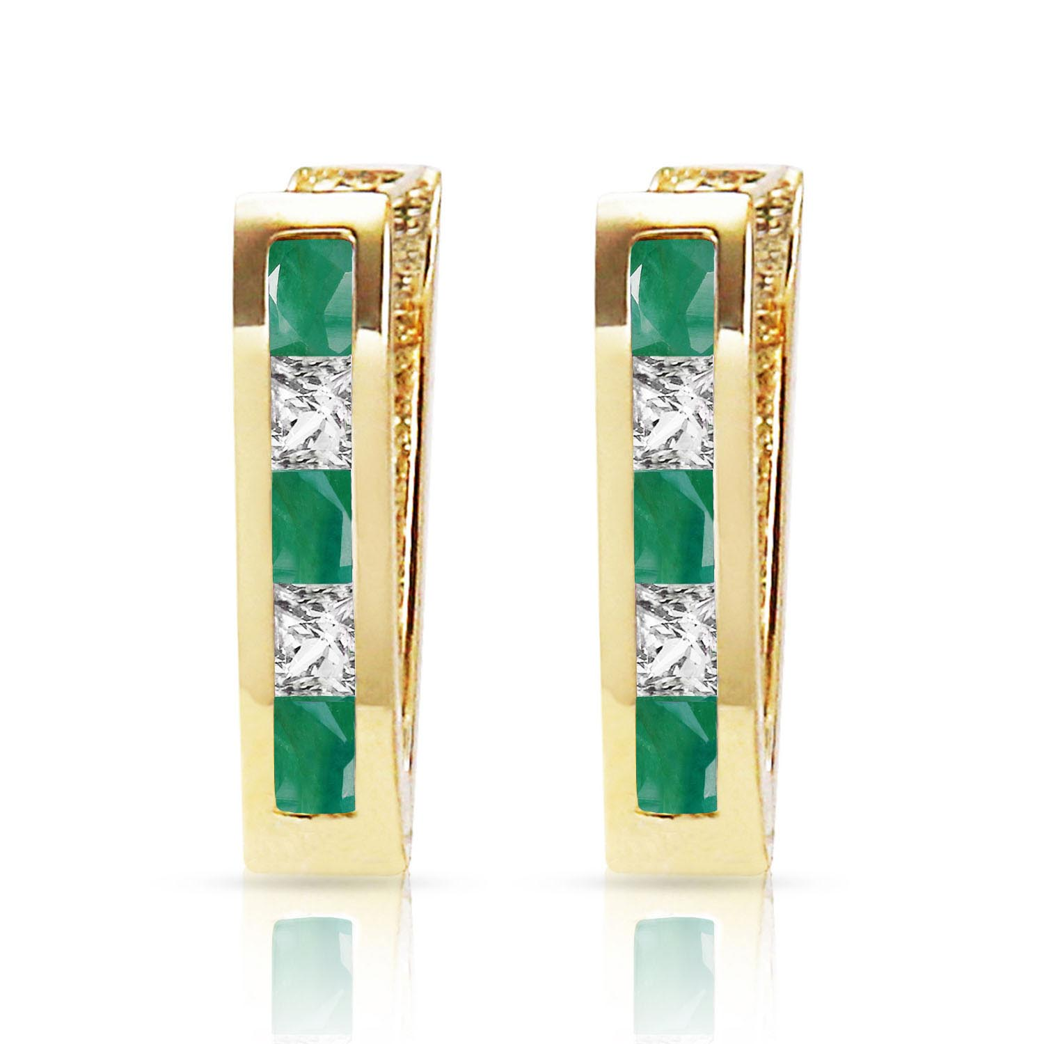 Emerald and White Topaz Acute Huggie Earrings 1.26ctw in 9ct Gold