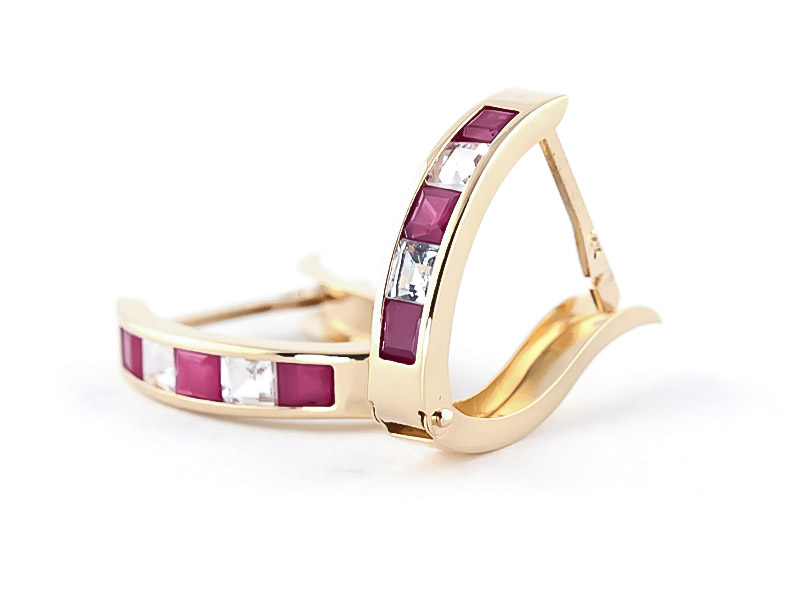 Ruby and White Topaz Acute Huggie Earrings 1.26ctw in 9ct Gold