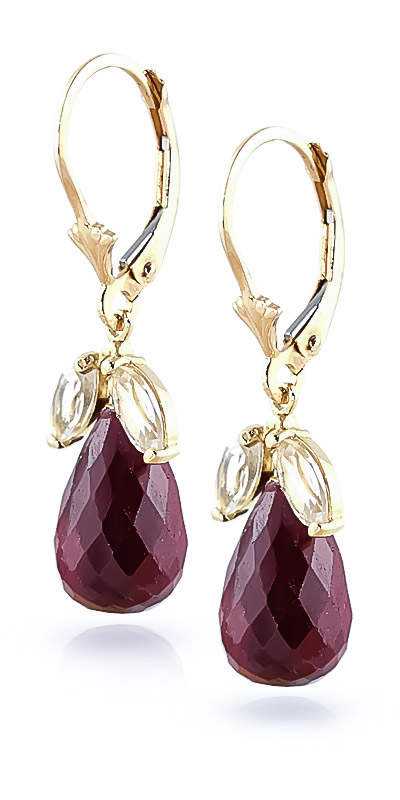 Ruby and White Topaz Snowdrop Earrings 18.6ctw in 9ct Gold