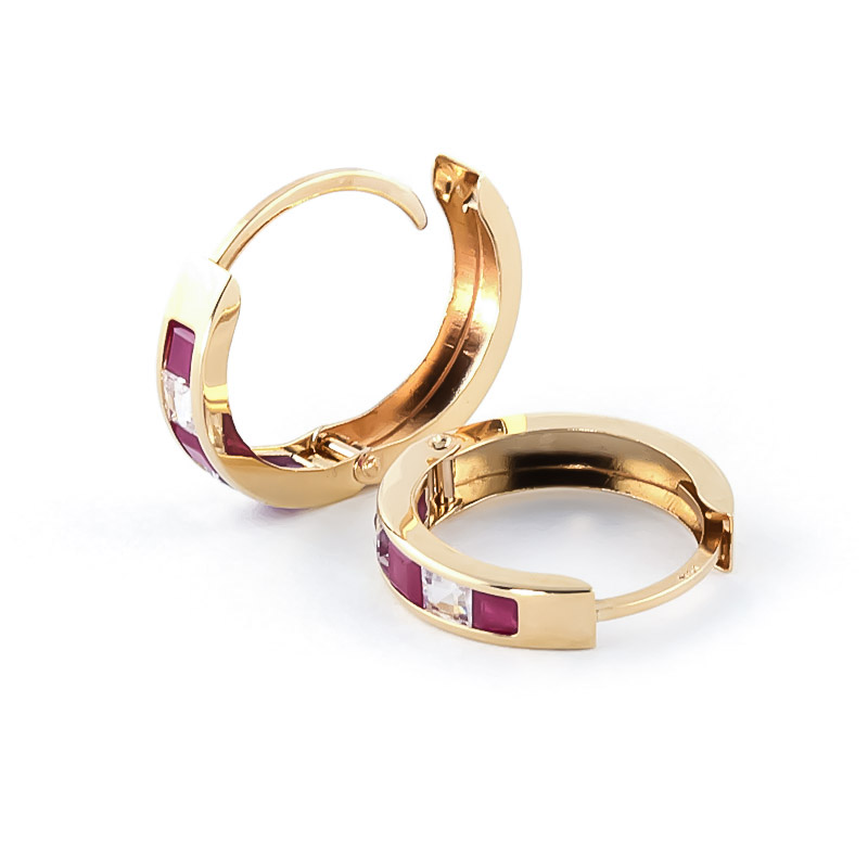 Ruby and White Topaz Huggie Earrings 1.26ctw in 9ct Gold