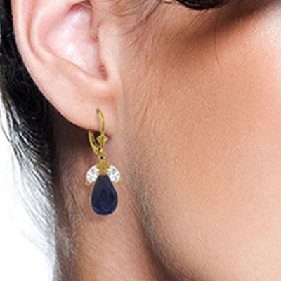 Sapphire and White Topaz Snowdrop Earrings 18.6ctw in 9ct Gold