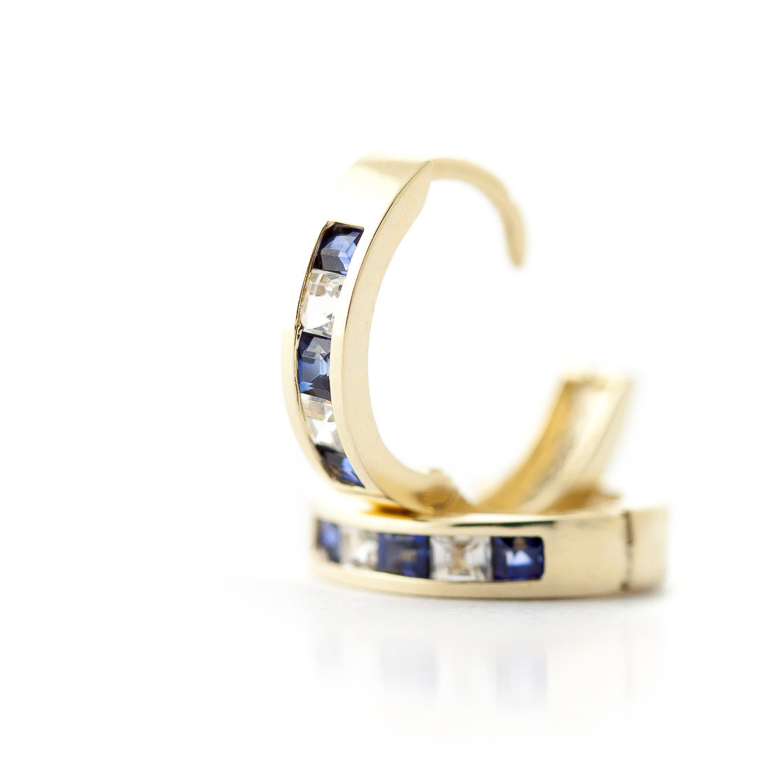Sapphire and White Topaz Huggie Earrings 1.26ctw in 9ct Gold