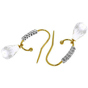 Diamond and White Topaz Stem Droplet Earrings in 9ct Gold