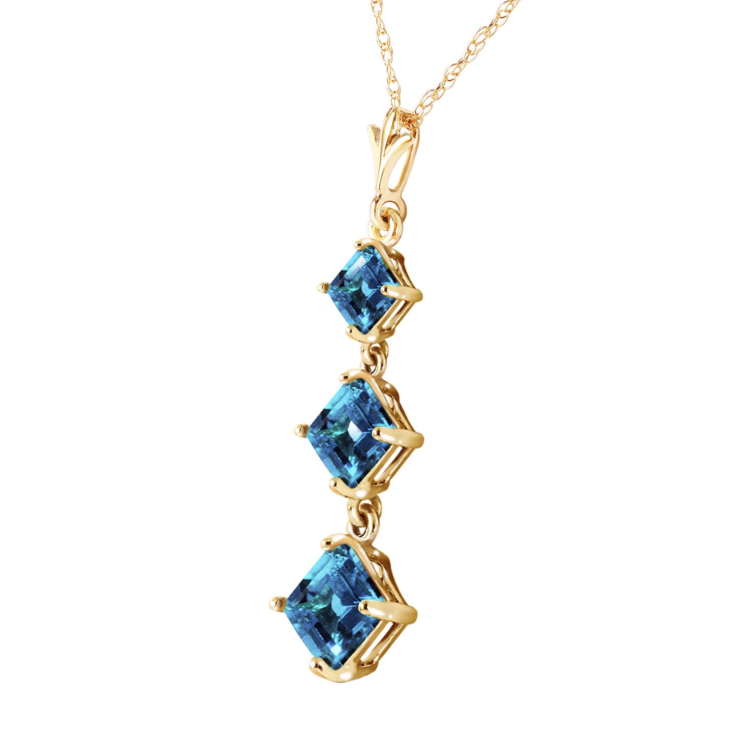 Blue Topaz Three Stone Pendant Necklace 2.4ctw in 9ct Gold