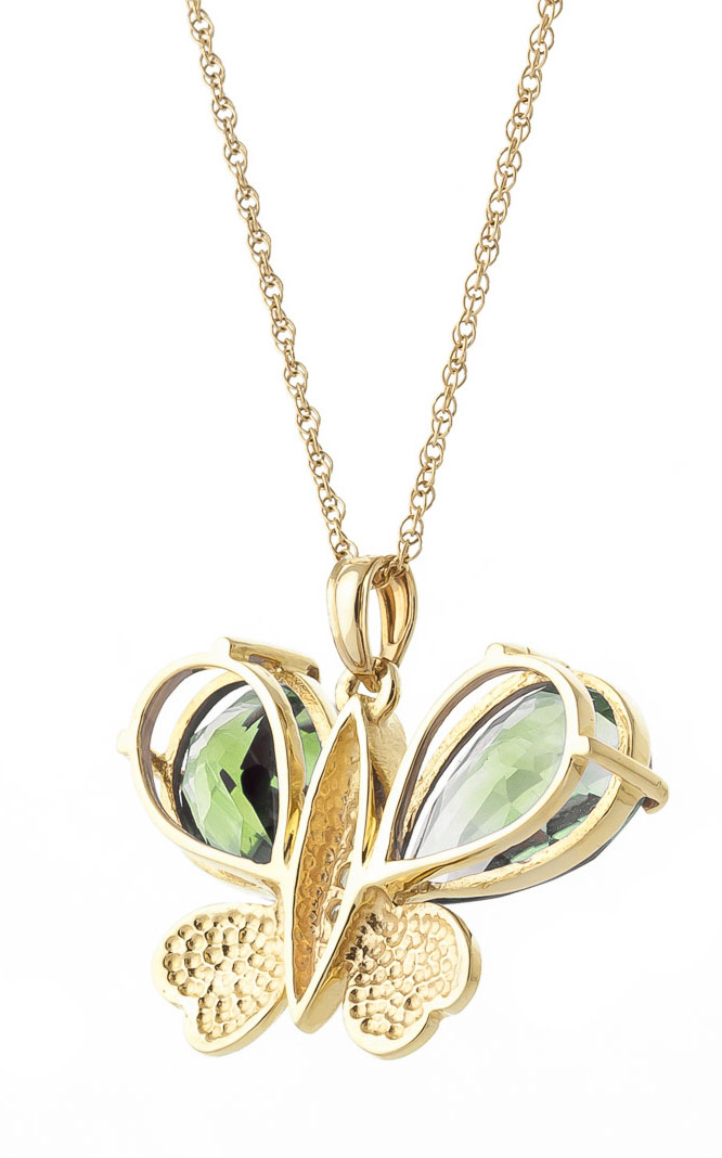 Green Amethyst & Diamond Butterfly Pendant Necklace in 9ct Gold