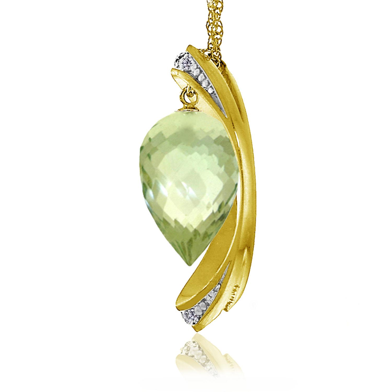Green Amethyst & Diamond Drop Pendant Necklace in 9ct Gold