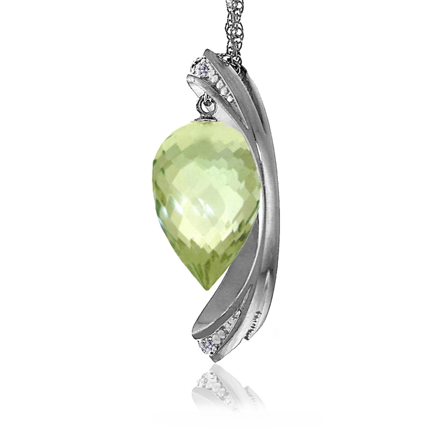 Green Amethyst & Diamond Drop Pendant Necklace in 9ct White Gold