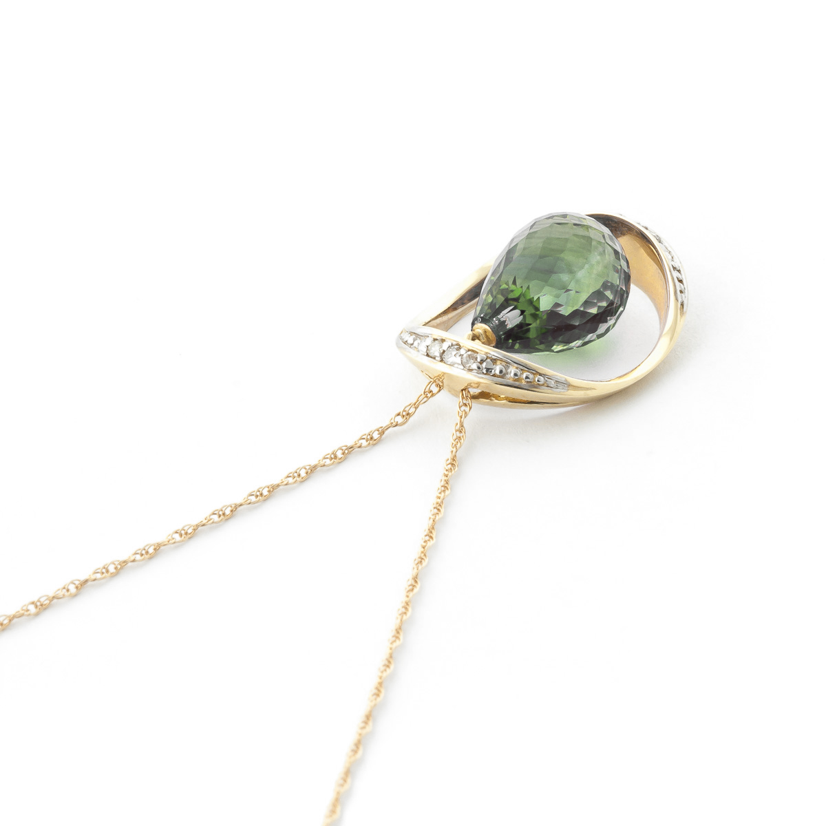 Green Amethyst & Diamond Pendant Necklace in 9ct Gold