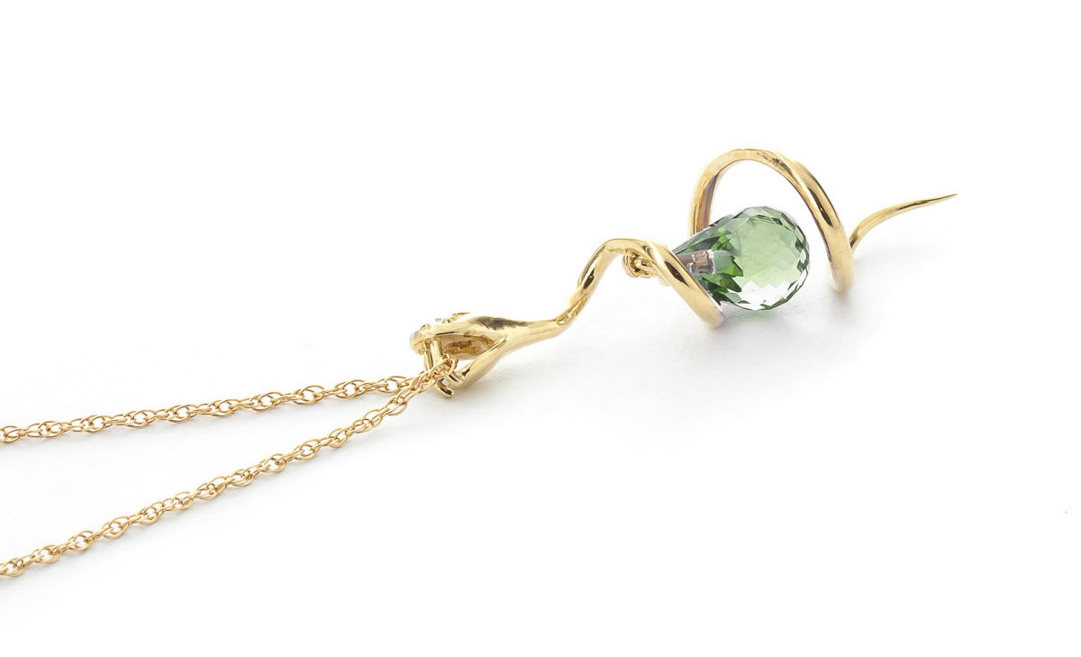 Green Amethyst & Diamond Serpent Pendant Necklace in 9ct Gold