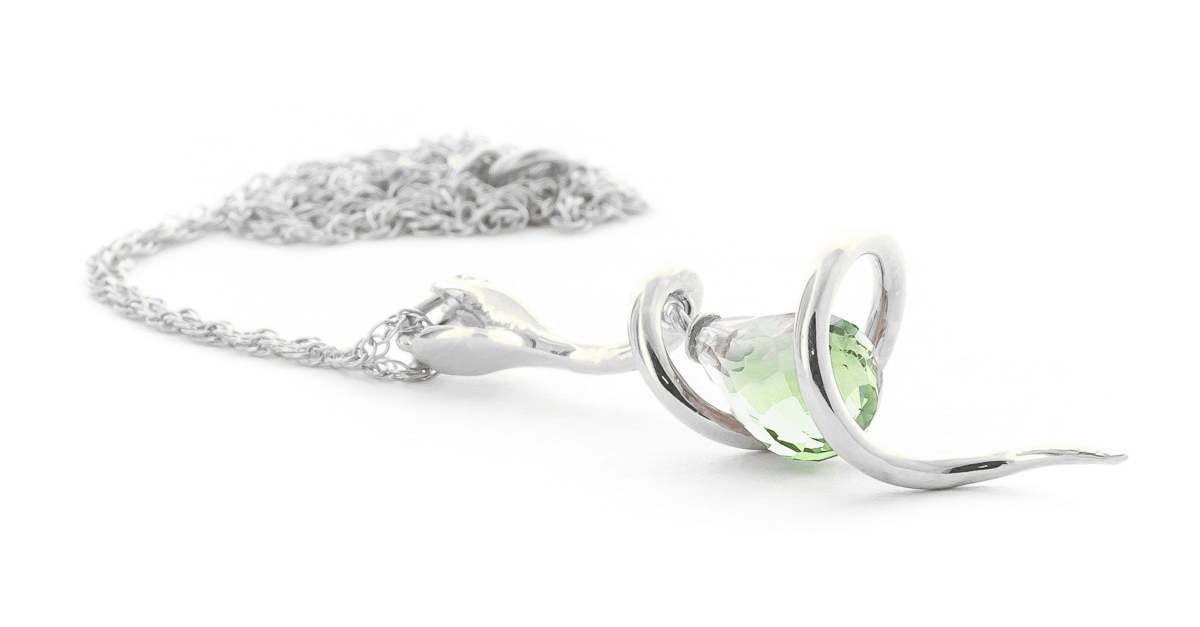 Green Amethyst & Diamond Serpent Pendant Necklace in 9ct White Gold