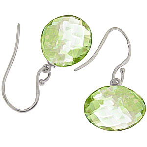 Green Amethyst Chequer Drop Earrings 12 ctw in 9ct White Gold