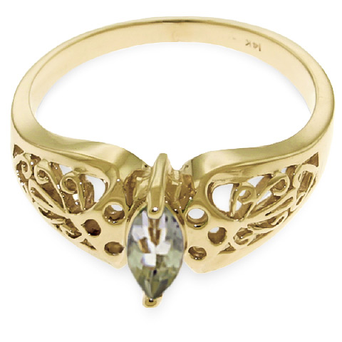 Green Amethyst Filigree Ring 0.2 ct in 9ct Gold