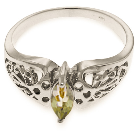 Green Amethyst Filigree Ring 0.2 ct in Sterling Silver