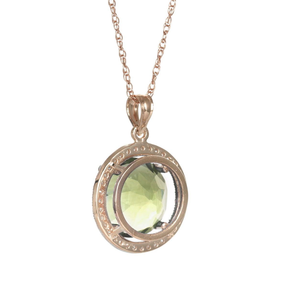 Green Amethyst Halo Pendant Necklace 5.2 ctw in 9ct Rose Gold