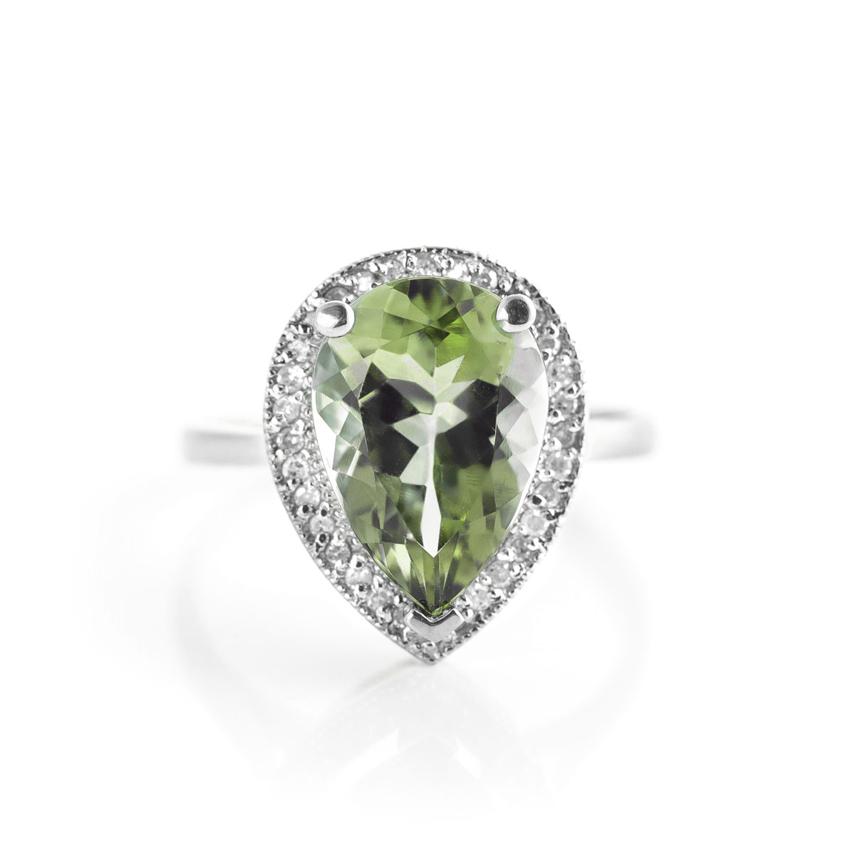 Green Amethyst Halo Ring 3.41 ctw in Sterling Silver