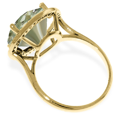 Green Amethyst Halo Ring 5.2 ctw in 9ct Gold