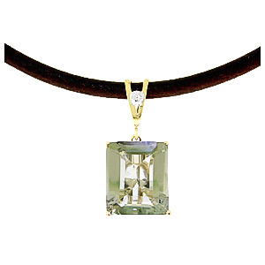 Green Amethyst Leather Pendant Necklace 6.51 ctw in 9ct Gold