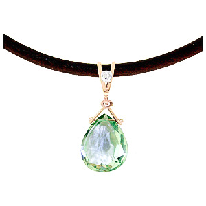 Green Amethyst Leather Pendant Necklace 6.51 ctw in 9ct Rose Gold