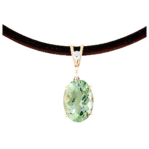 Green Amethyst Leather Pendant Necklace 7.56 ctw in 9ct Rose Gold