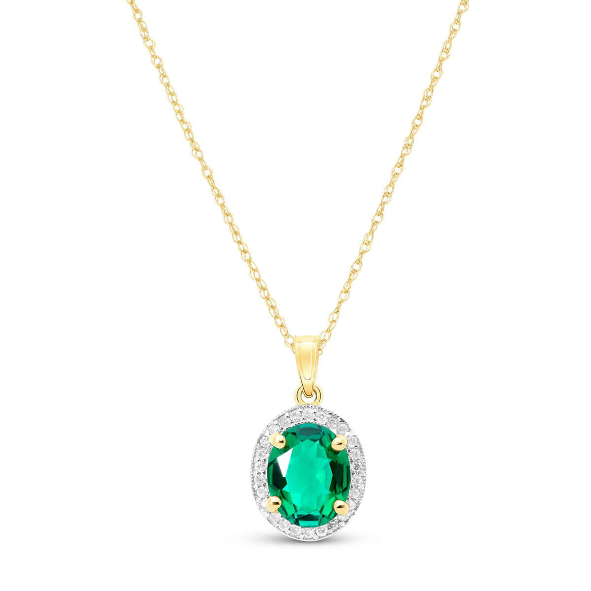 Lab Grown Emerald & Diamond Halo Pendant Necklace 2.04 ctw in 9ct Gold