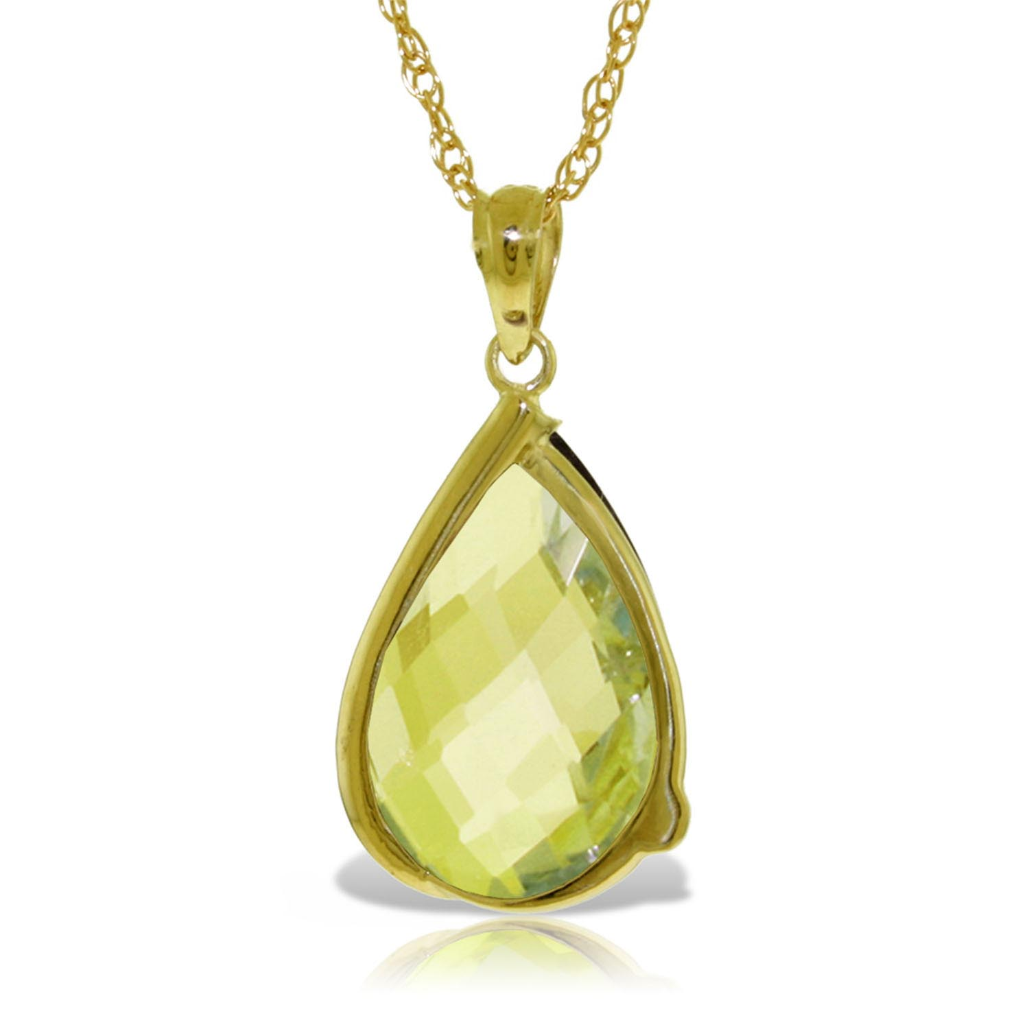 Lemon Quartz & Diamond Chequer Pendant Necklace in 9ct Gold