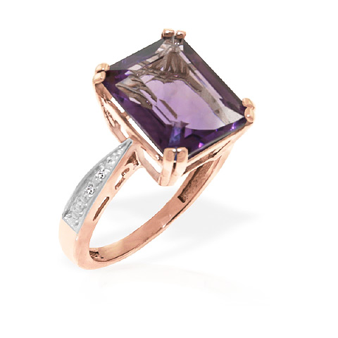Octagon Cut Amethyst Ring 5.62 ctw in 9ct Rose Gold