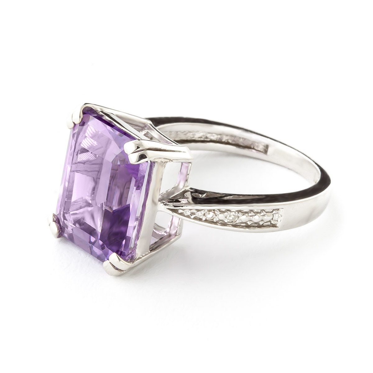 Octagon Cut Amethyst Ring 5.62 ctw in 9ct White Gold
