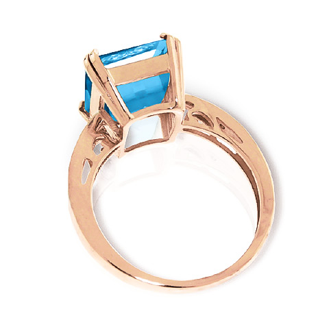 Octagon Cut Blue Topaz Ring 7.62 ctw in 9ct Rose Gold