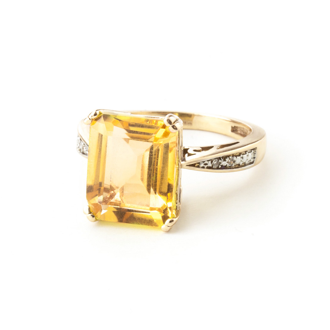 Octagon Cut Citrine Ring 5.62 ctw in 9ct Gold