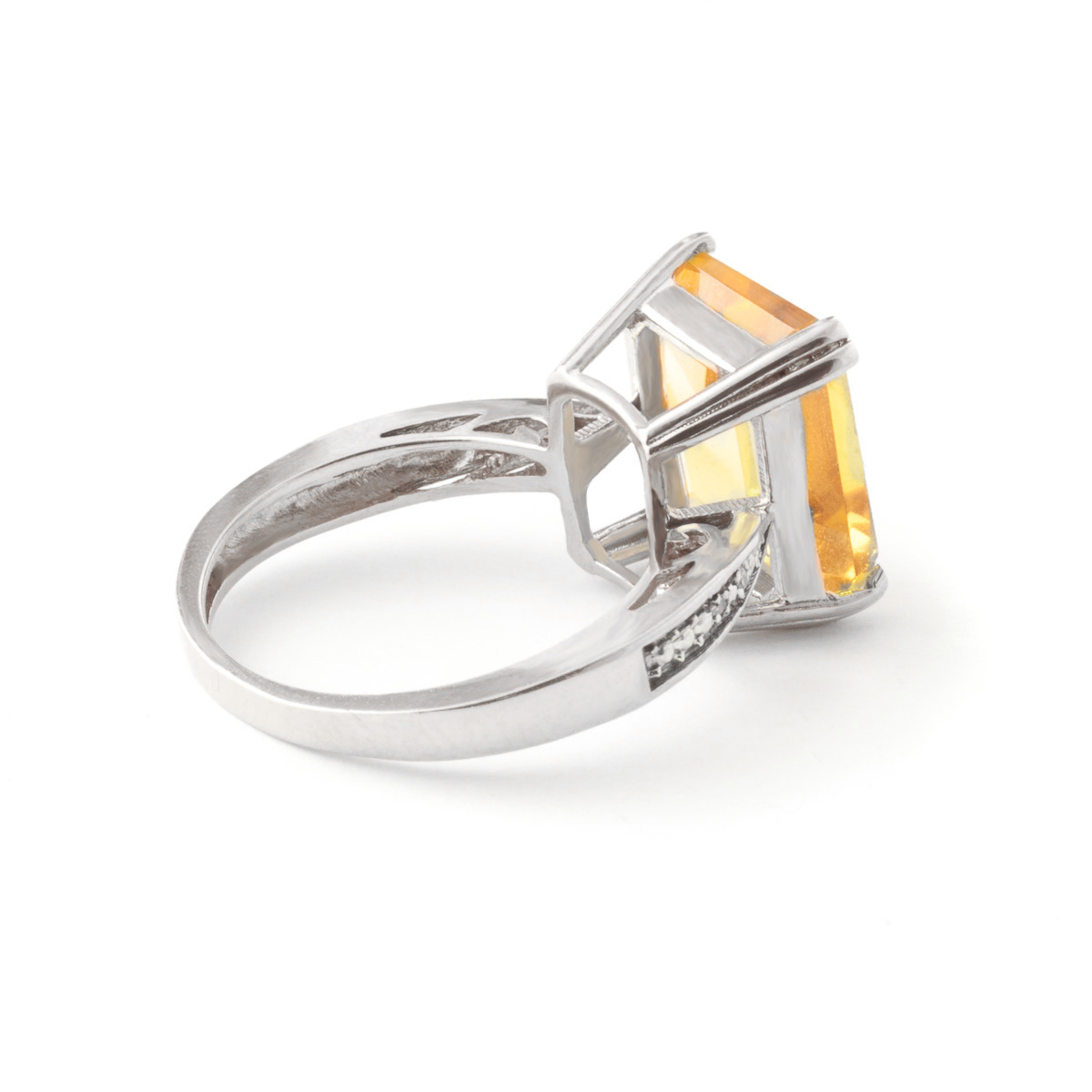 Octagon Cut Citrine Ring 5.62 ctw in 9ct White Gold