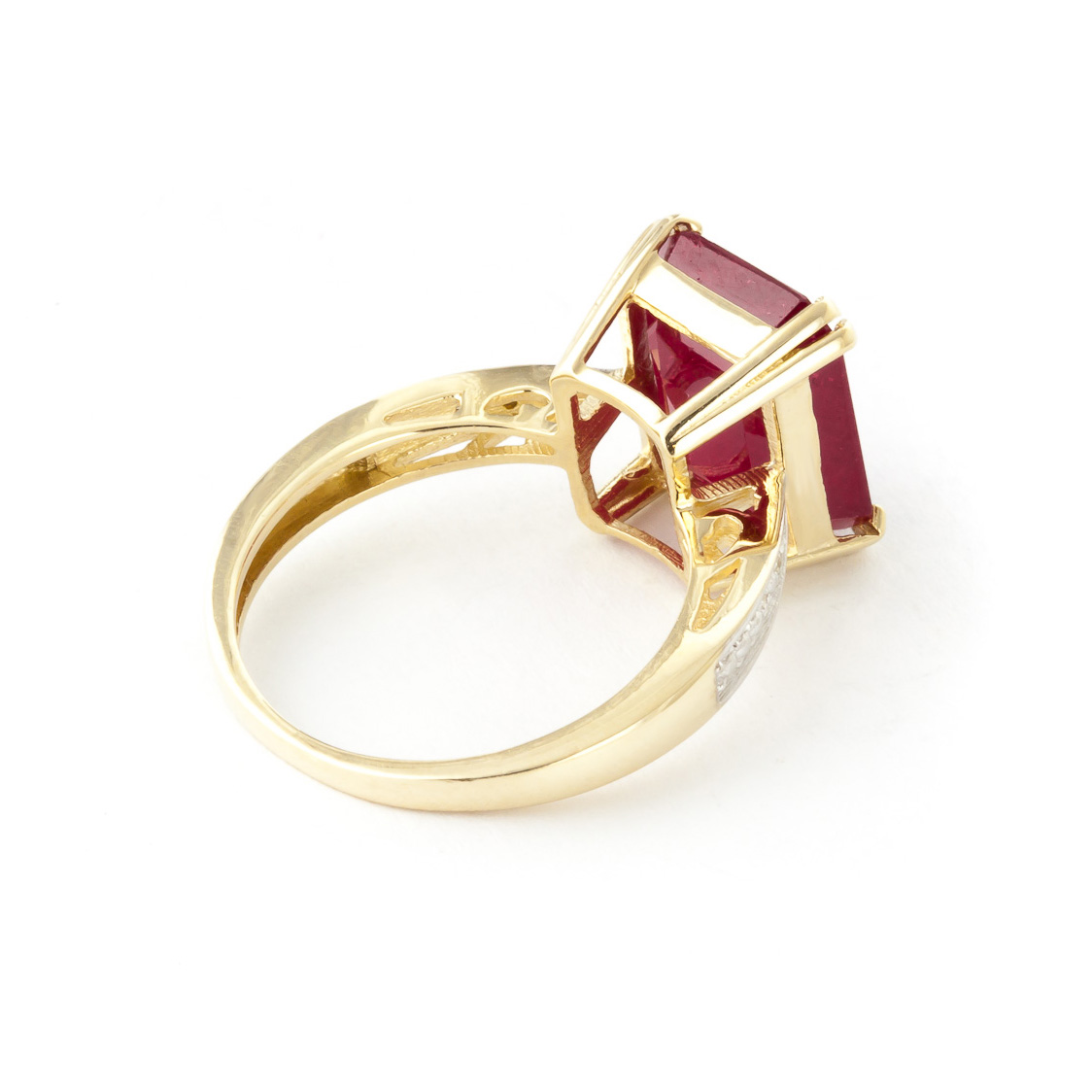 Octagon Cut Ruby Ring 7.27 ctw in 9ct Gold