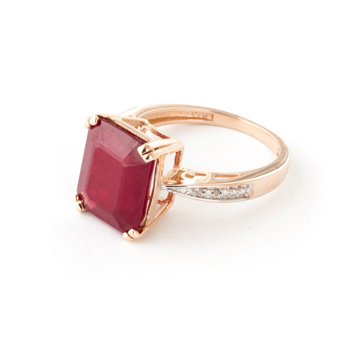 Octagon Cut Ruby Ring 7.27 ctw in 9ct Rose Gold